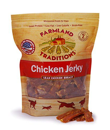 "Farmland Traditions USA Made Chicken Jerky Dog Treats, 3 Lb. - Farmland Traditions Chicken Jerky Treats are premium dog treats made from 100% US raised chicken. Unlike other treats that use the term ""jerky"" to describe products containing non-meat ingredients such as grains, sugar and artificial additives, our authentic jerky treats are made from lean breast..."