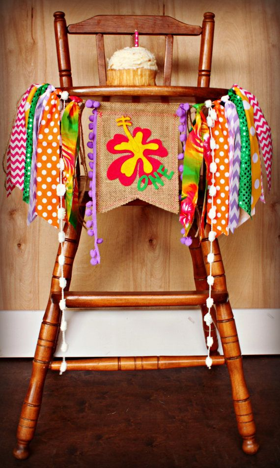 For Leilani's 1st birthday! Hawaiian Luau Birthday Age HIGH CHAIR highchair by RawEdgeSewingCo, $24.95.