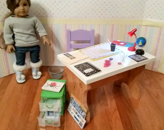 18 Doll Teacher desk chair drawers and lots of by FuzzyButtFarm