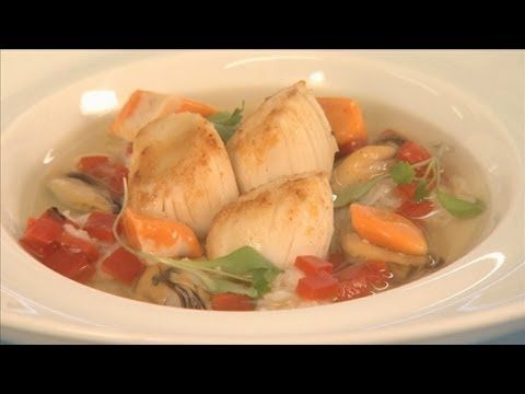 Scallop Resources for Seafood Chefs: Scallop Recipe: Scallops in a Dashi broth with Seafood. Demonstrated by Colin McGurran, Chef-proprietor at Winteringham Fields Restaurant, North Lincolnshire