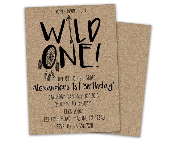Wild One Birthday Invitation 1st Birthday by PartyPrintExpress