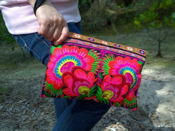 Hmong Embroidery Floral Clutch Bag  tribal vintage by pasaboho
