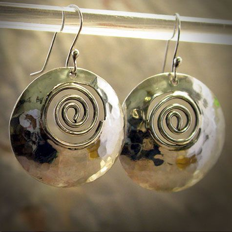 "Hammered ""swirl"" sterling silver earrings"