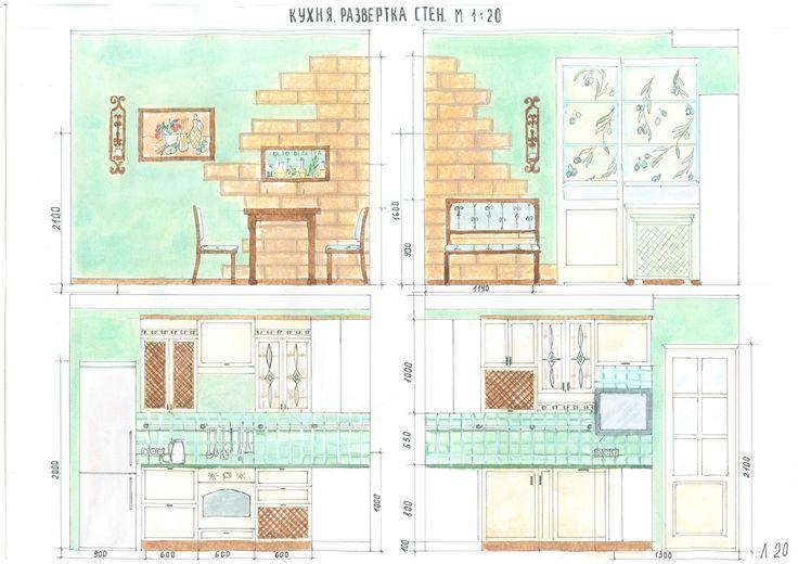 Wall elevation.Kitchen. Развертка стен кухни. Позволяет точно  разметить расположение розеток, рассчитать размеры шкафов, сделать расчет количества плитки. #krapivinairina  #моипроекты #дизайнинтерьера #кухни