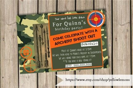 Birthday invitation (digital file only)Arrow shooting, hunger games, hunting, camping, archery, archery club, birthday, party, invitaiton by yellowlemons on Etsy