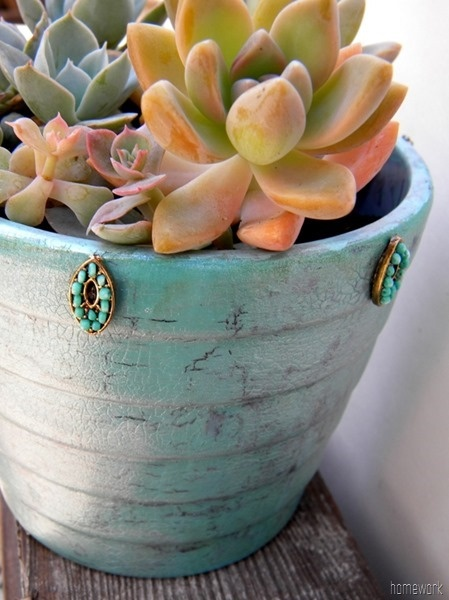 DIY:: Beautiful !!  Turquoise {crackle paint} Planter Tutorial by @Carolyn Rafaelian Levine garris {homework}