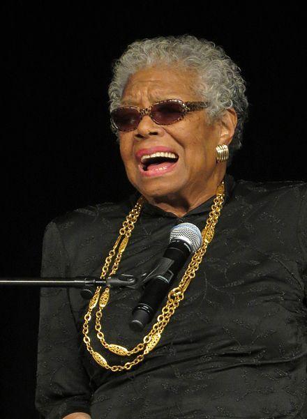 Maya Angelou, de son vrai nom Marguerite Johnson, née le 4 avril 1928 à Saint-Louis, Missouri, et morte le 28 mai 2014 (à 86 ans) dans sa maison de Winston-Salem, Caroline du Nord, est une poétesse, écrivaine, actrice et militante afro-américaine. Figure importante du mouvement américain pour les droits civiques, elle est devenue une figure emblématique de la vie artistique et politique aux États-Unis où ses livres sont au programme des écoles