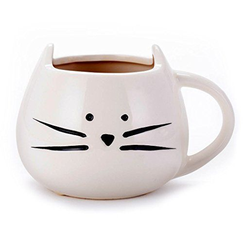 Asmwo Funny Ceramic White Cat Shaped Coffee Mug for Cat L...