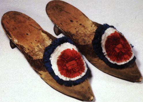 Shoes bearing the Revolutionary Cockade.