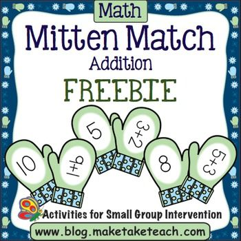 Your students will love practicing basic addition facts with the Make, Take & Teach mitten match activity for addition. This activity is perfect for your winter-themed math centers. Simply print the mittens and your activity is ready to go! Add a little fine motor practice by having your students clip the mittens together with clothespins.You may enjoy these other Make, Take and Teach winter themed activities:Build A Snowman- Beginning SoundsBuild A Snowman- Word FamiliesPlayful Penguins...
