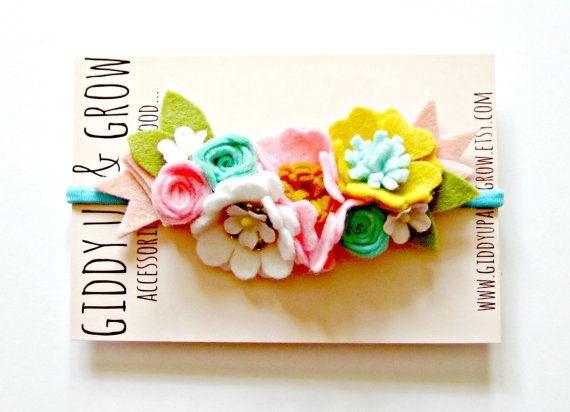 Floral Crown Headband Bohemian Felt Flower Crown by giddyupandgrow - Just a cute headband that made me think of a mermaid :)