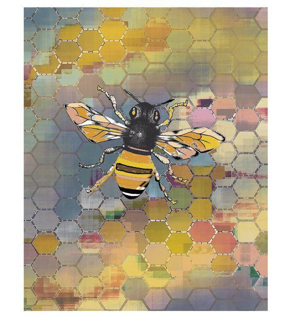 Bee Art Print / Honeycomb & Bee Art Poster/ Geometric Art / 8X10 inches