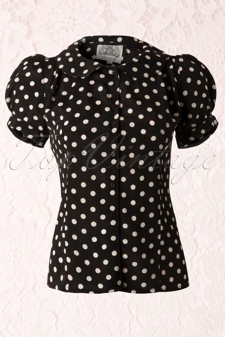 The Seamstress of Bloomsbury - 40s Jive Polkadot Blouse in Black Crepe de Chine