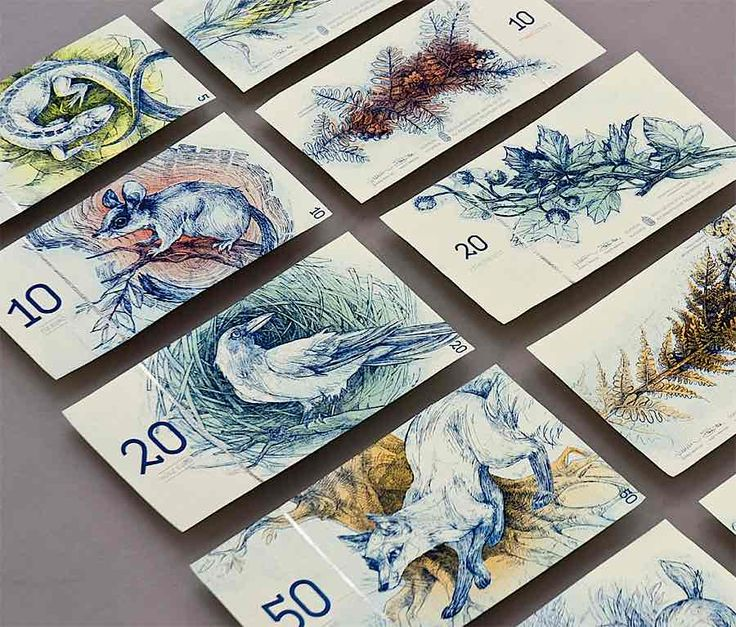 Hungarian euro banknote series (MA degree project). The common side of each note features european animals, the other side shows related species of plants -via Bernát Barbara (http://abduzeedo.com/hungarian-paper-money-design)