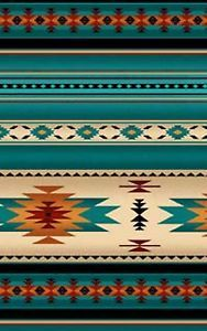 Southwest Turquoise, Orange Blanket Stripe, Navaho Designs, Tucson, By 1/2 Yard