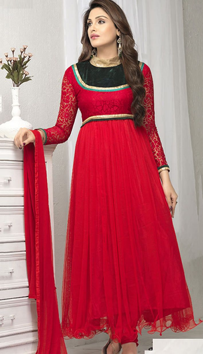 Beautiful Latest Red Brasso Soft Nett Anarkali Suit, Dress