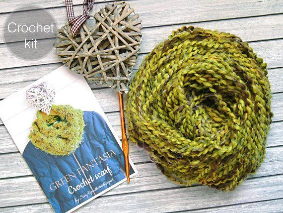 CROCHET KIT  Fantasia crochet scarf beginner crochet scarf