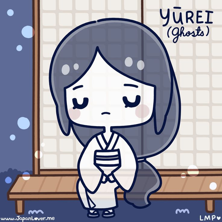 "Yūrei (幽霊) are ""ghosts"" in Japanese folklore. The kanji directly translates to ""faint spirit"". It is a traditional Japanese belief that for a dead person's spirit to rest in peace and join its ancestors (sometimes even becoming the protector of their living loved ones), it has to be given a proper funeral and burial rites.   ♥ http://japanlover.me/cool/?p=3171 ♥   www.instagram.com/JapanLoverMe Art by Little Miss Painbrush"