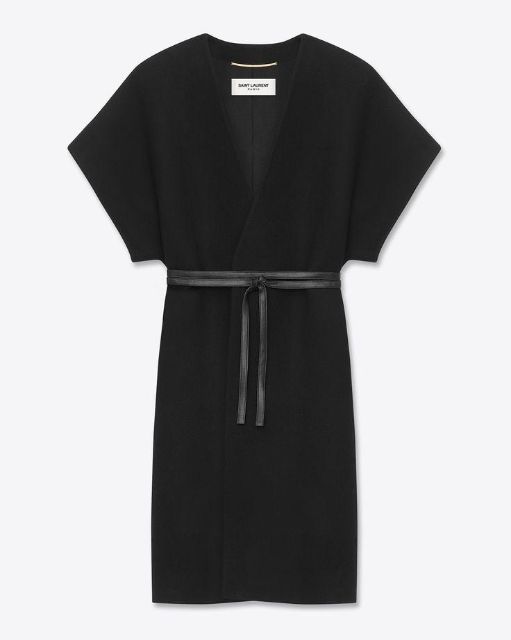 Saint Laurent Kimono Coat In Black Wool And Angora | ysl.com