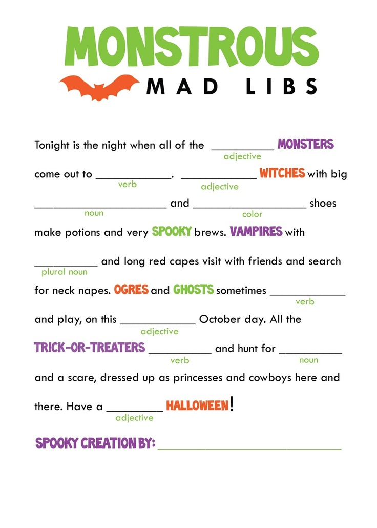It's just a picture of Gratifying Mad Libs Printable