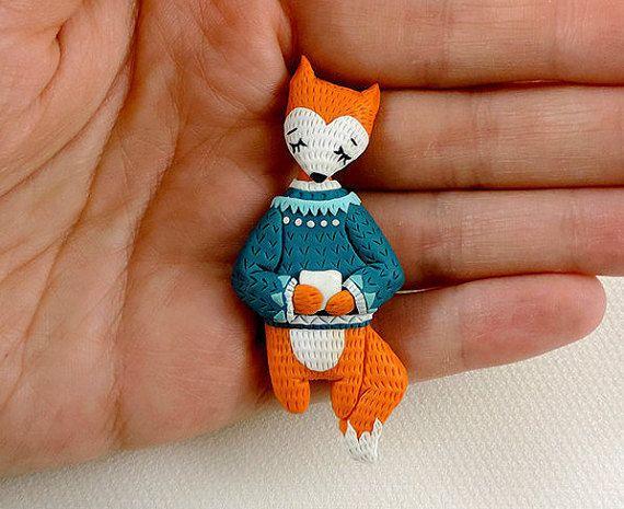Fox brooch  red fox jewelry  cute animal brooch  by sofoxyclay