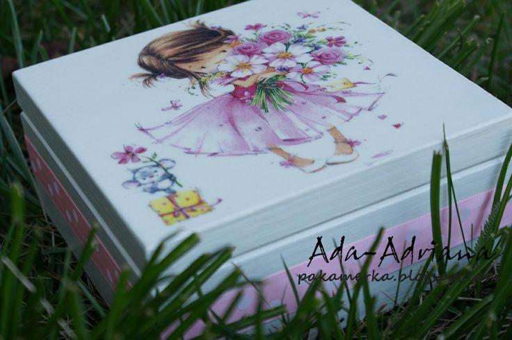pudełko, pudełko na drobiazgi, decoupage, prezent urodzinowy, obrazki,