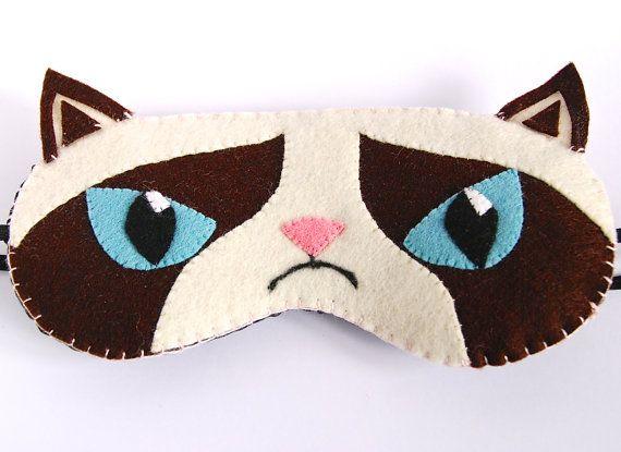 Grumpy Cat Sleep Mask Animal Eye Mask White and Brown Sleeping Mask Wool Felt Handmade  100% Handmade Quality Product Wool Felt (front) and Black Cotton (back) Felt layer & Batting (inside) Elastic Strap for secure fit Unisex Adult Mask Ready to Ship !