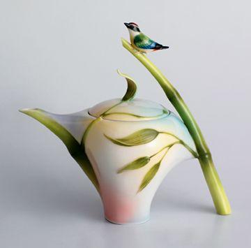 Franz Porcelain Bamboo Song Bird Teapot