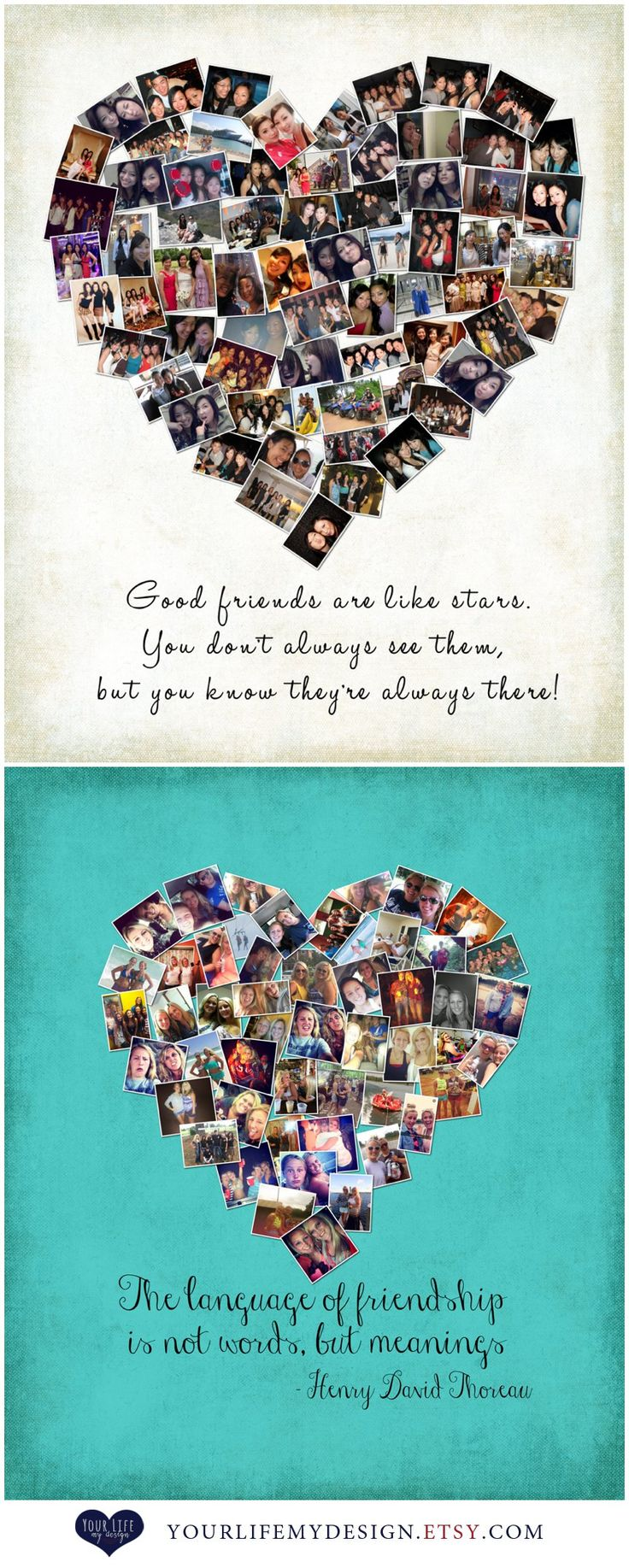 Gift for Best Friends, Personalized Gift, Photo Collage, Gift for Sister, Sorority Gifts, Personalized Birthday Gift, Maid of Honor gift. You can use your collection of photos, party photos, vacation photos, family photos, iPhone, Facebook, & Instagram photos. www.yourlifemydesign.etsy.com