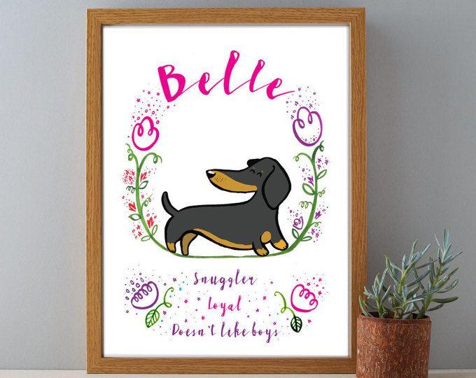 Retrato de mascotas de Daschund personalizado, personalizado para mascotas retrato, retrato de mascotas, retrato de perro, perro del animal doméstico, impresión impresión, mascotas arte, arte perro