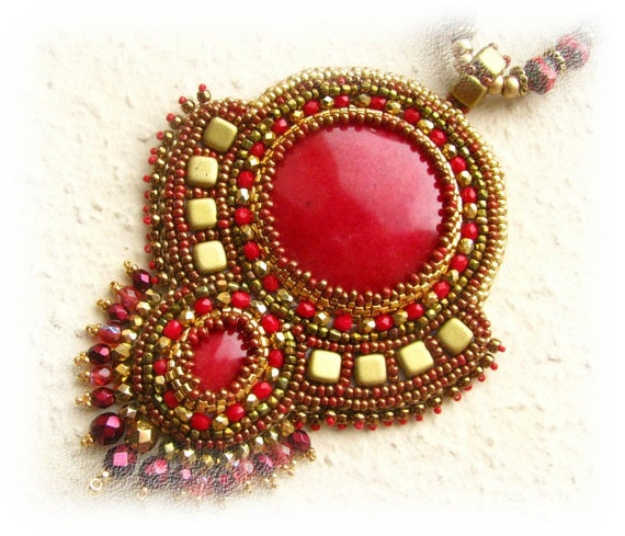 Bead Embroidery  Bead Embroidered Necklace and by budaikata, $130.00