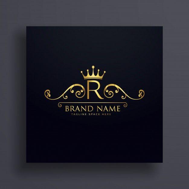 Letter R Logo With Golden Crown And Floral Decoration Premium Vector Golden Logo Design Luxury Logo Design Monogram Logo Design