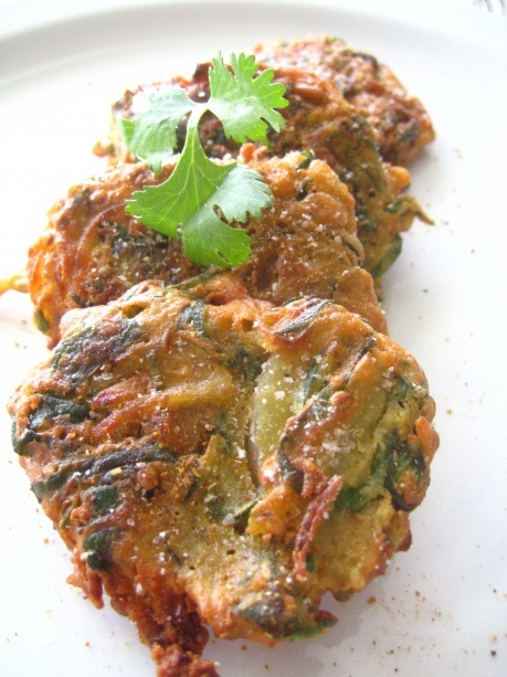 Pakoras: Chickpea Flour Fritters with Spinach, Red Onion, and Potatoes