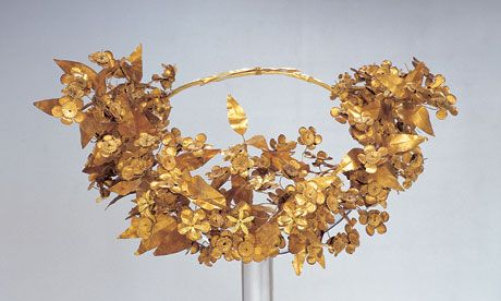 The Macedonian queen's wreath from the Ashmolean Museum's Alexander the Great exhibition. This golden diadem, more than 2,300 years old, was Catherine's inspiration for Jack's coronation crown and the crown of myrtle leaves and flowers worn by the Queen of Annwn.