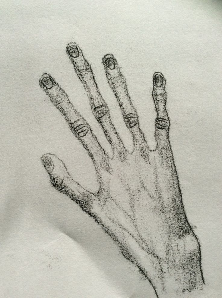 Mono print of a hand inspired by Egon Schiele.