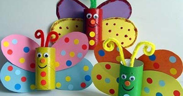 Bricolage d'un papillon multicolore  Les enfants ont adoréeeeee!!! Super   B r i c o l a g e   Pinterest   Papillons, Bricolage and Butterflies
