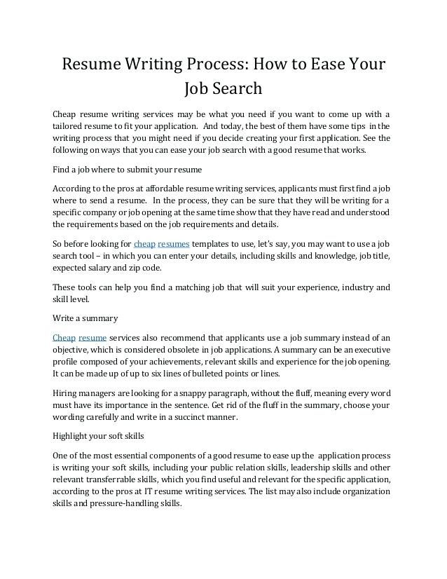 Inexpensive Resume Writing Services Resume Writing Process How To