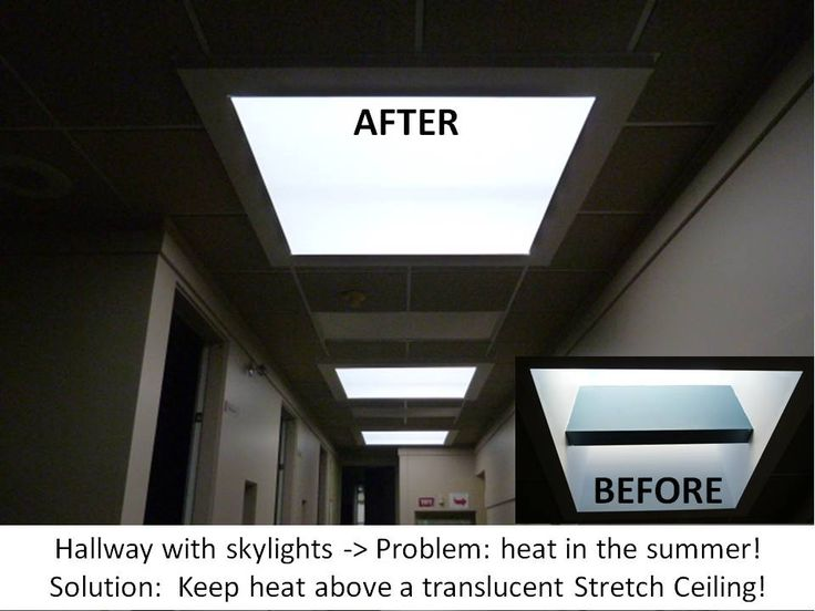 Hallway with skylights -> Problem: Heat in Summer!  Solution: Keep heat above a translucent Phoenix Stretch Ceiling