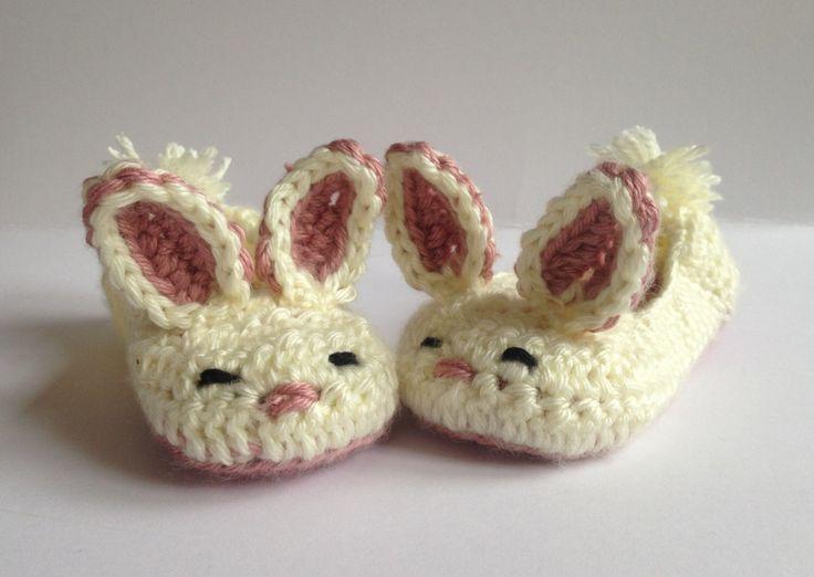 Girls Bunny slippers, crochet slippers.Easter Gift for Kids. Childrens slippers, Kids slippers. Non-slip slippers by Jayneanncrochet on Etsy https://www.etsy.com/listing/224504495/girls-bunny-slippers-crochet