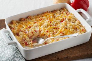 "Cheesy Hash Brown Casserole recipe (I found this on the Kraft website under ""Healthy Living Recipes"")  90 cals. per 1/2 cup serving."