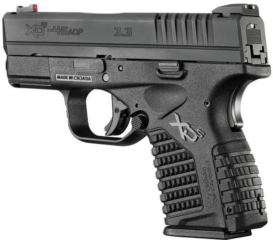 Springfield XDS Compact Pistol XDS93345B, 45 ACP, 3.3 in, Black Polymer Grip, Black Finish, 5 Rd: