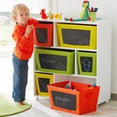 Idée de rangement pour la chambre d'un enfant : Le coup de coeur de Max : l'étagère à casiers avec ardoises - Décorer