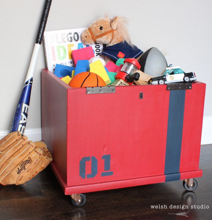 Upcycled storage cube becomes industrial toy box. #kidsroomdecor #toybox #boysroom