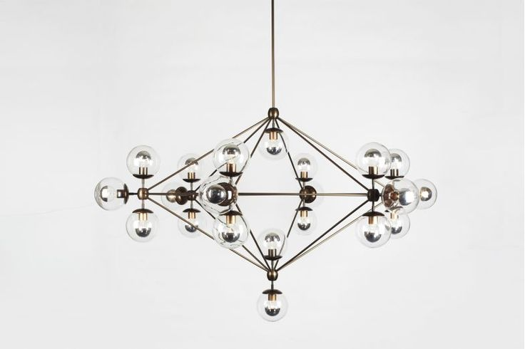 Modo Chandelier - 6 Sided 21 Globes Bronze, Smoked by Jason Miller for Roll & Hill | Space Furniture