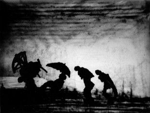 William Kentridge - Frame from 'Journey to the Moon' video (seen at Kunsthalle Wien)
