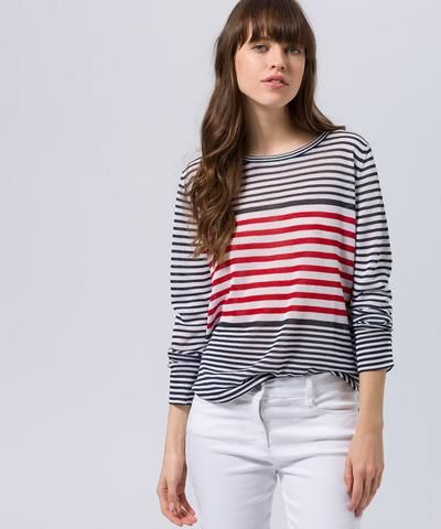 BRAX - Lisa - Chandail rayé de tricot - Marine/Rouge
