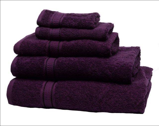 purple towels bathroom