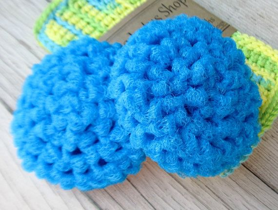 Crochet Dish Scrubbers  Teal Scouring Pads  Set of 2 by TheLotusShop, $5.00