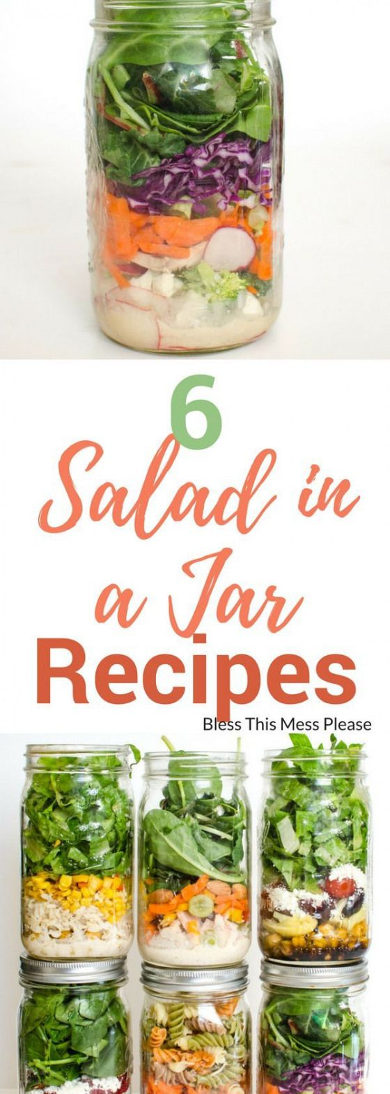 6 Salad in a Jar Recipes -try these easy and interesting salad in a jar recipes. Your lunch meal prep will be done for the whole week! #mealprep #saladinajar # healthylunch #blessthismessplease #paleolunch