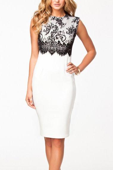 Lace Splicing White O-neck Sleeveless Bodycon Dress